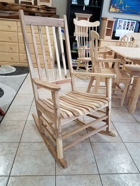 unfinished outdoor rocking chair natural wood
