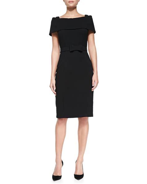 Shoulder Sheath Dress lyst badgley mischka the shoulder sheath dress w