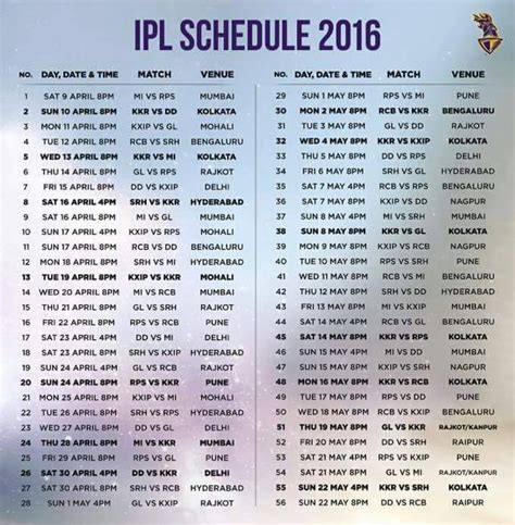ipl schedule 2016 ipl 2016 schedule just entertainment