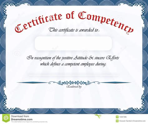 Certificate of competency stock illustration. Image of