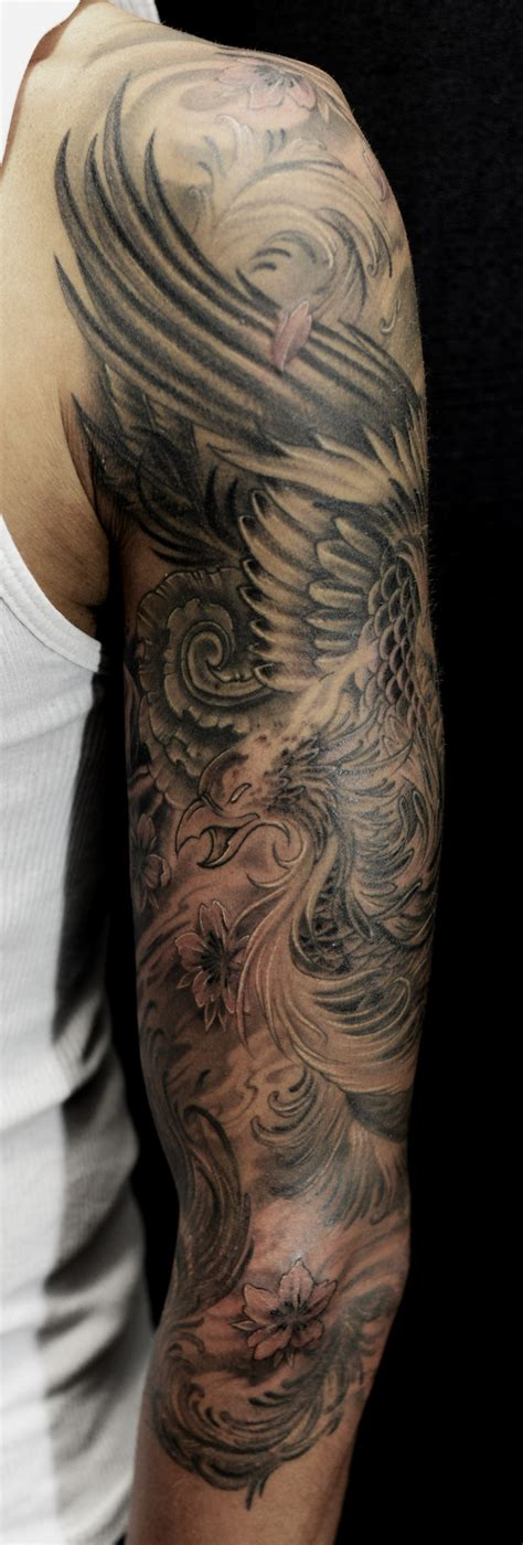 black phoenix tattoo half sleeve tattoos for black and grey