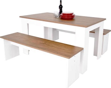 Dining Table Bench Seating Kendal Kitchen Dining Table Bench Seat Set 3d Textured White Ash Oak Wood Ebay