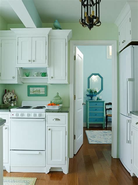 green cabinets cottage kitchen sherwin williams small lake cottage with turquoise interiors home bunch