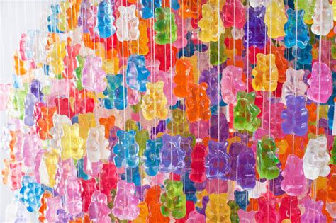 Nice Lamps chandelier made from 3 000 gummy bears by kevin champeny