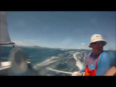 catamaran sailing pacific 24ft strider catamaran sailing fast in the pacific youtube