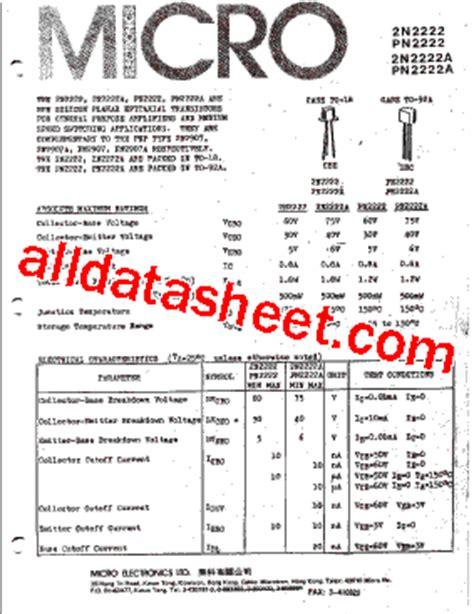 datasheet transistor npn 2n2222a 2n2222 데이터시트 pdf micro electronics