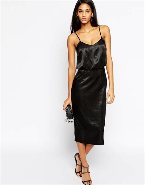 Dress Midi Satin Lyst Asos Exclusive Cami Midi Dress In Hammered Satin In