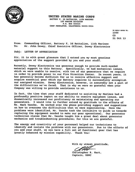 supply officer appointment letter usmc the dewey electronics corporation usmc issues letter of