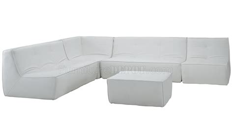 White Bonded Leather Sectional Sofa by Align 5pc Sectional Sofa Set In White Bonded Leather By Modway