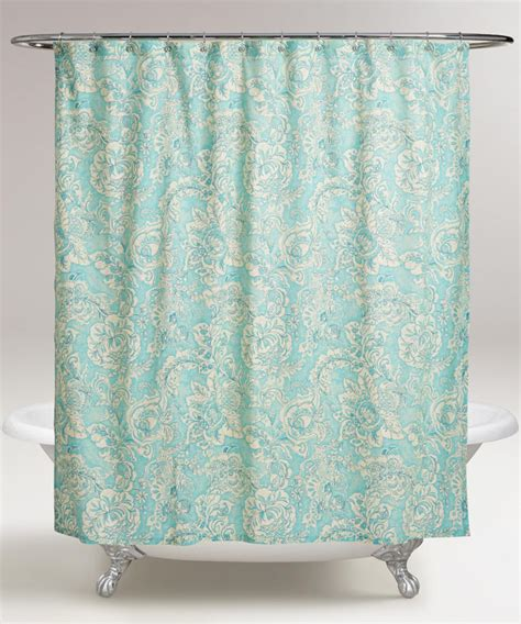 flowered shower curtains aqua floral adelaide shower curtain everything turquoise