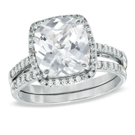 cushion cut lab created white sapphire fashion ring set in