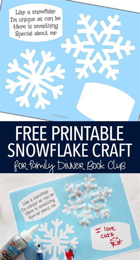 printable books about snowflakes free printable snowflake craft for family dinner book club