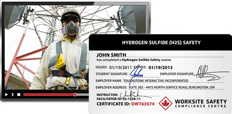 h2s certification card template hydrogen sulfide h2s worksite safety