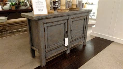 distressed blue console pottery barn molucca media console table blue distressed