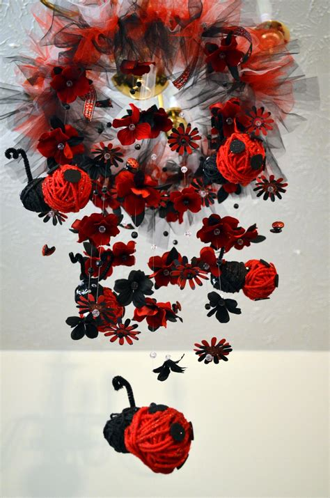 Ladybug Nursery Decor Floating Ladybug Nursery Mobile Black Nursery Decor Baby Shower Gift On Luulla