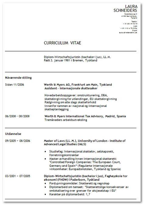Lebenslauf Vorlage Als Word Dokument Lebenslauf Muster Norwegen Ch