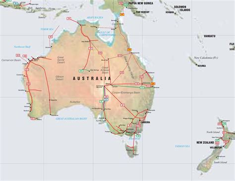 map of australia and nz australia new zealand and papua new guinea pipelines map