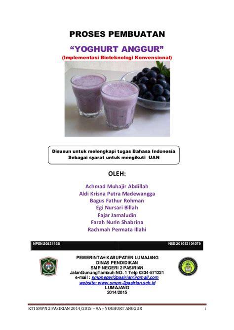 laporan praktek membuat yoghurt pembuka pembuatan yoghurt anggur