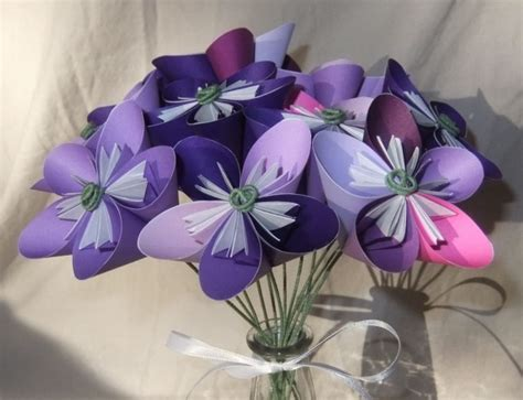 Origami Flower Bouquet - purple origami flower bouquet aftcra