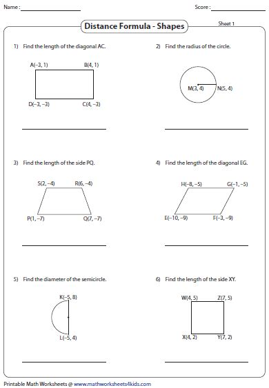 Distance Formula Worksheet With Answers by Math Distance Formula Worksheets Distance Rate And Time