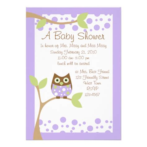 Baby Shower Owl Invitations by Purple Owl Baby Shower Invitation 5 Quot X 7 Quot Invitation Card