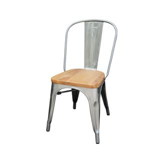 galvanized silver tolix chair  natural wood seat tablebasedepot