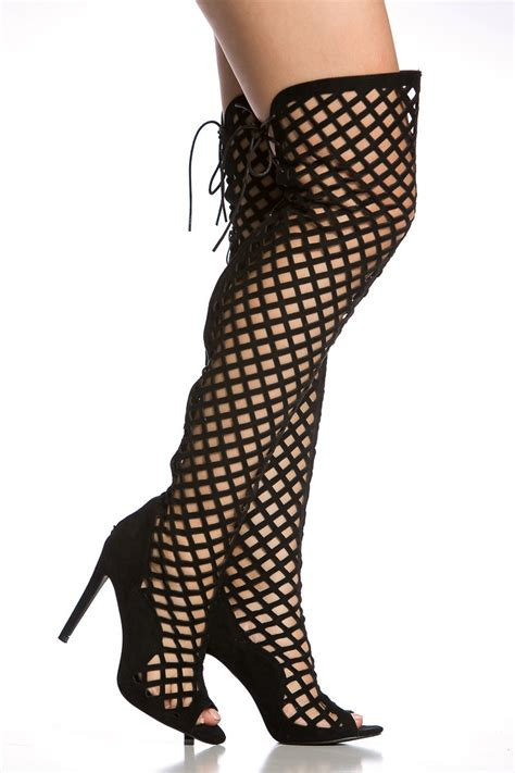 gladiator thigh high heels black faux suede cut out thigh high gladiator heels