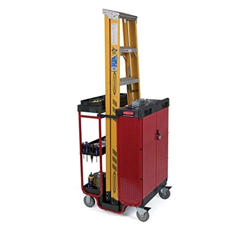 rubbermaid service cart with cabinet rubbermaid commercial fg9t5800bla ladder steel service