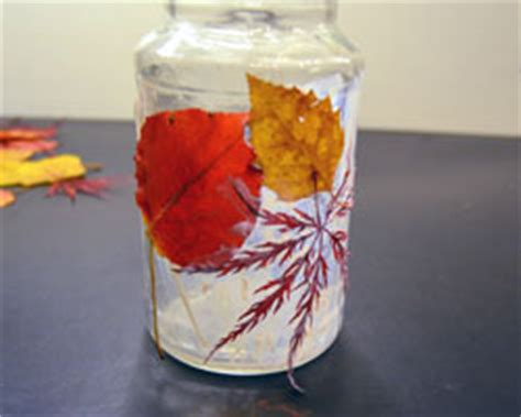 Decoupage With Leaves - decoupage leaves on a jar