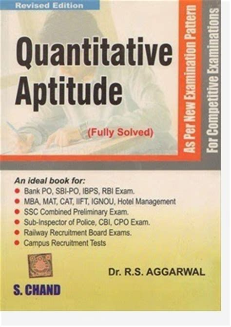 Mba Entrance Book By Rs Aggarwal by Rs Aggarwal Quantitative Aptitude Pdf Free