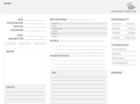 user persona template ux user persona printable version templates personas