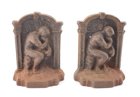 be right back bookends vintage pair of auguste rodin s the thinker cast iron bookends book ends