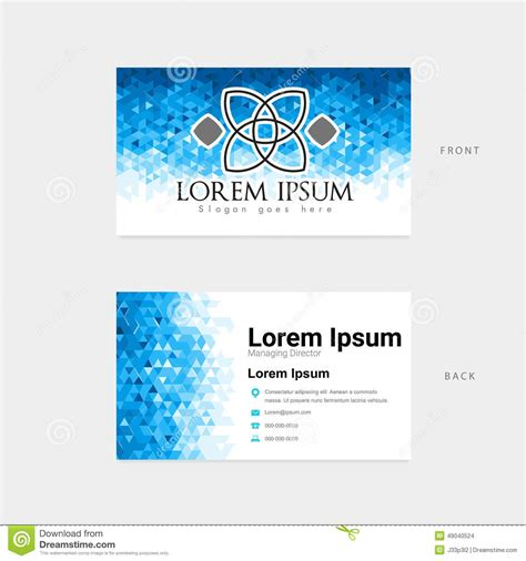 office 2000 business card template abstract polygon template business card stock vector