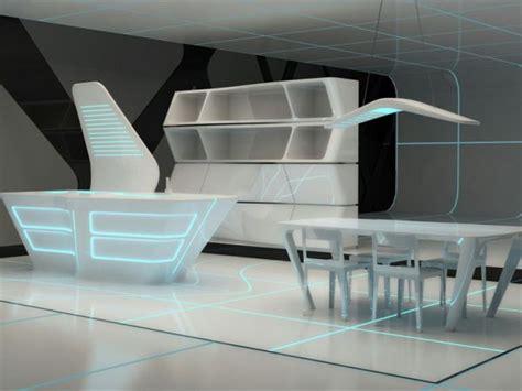 Futuristic Corian Kitchen and Dining Area