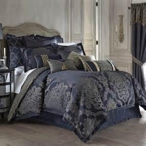 waterford vaughn comforter set queen blue gold damask