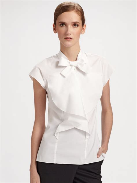 Carolina Blouse lyst carolina herrera cotton poplin ruffle front blouse in white