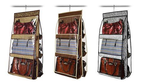 closet organizer for purses hanging 6 purse closet organizer groupon