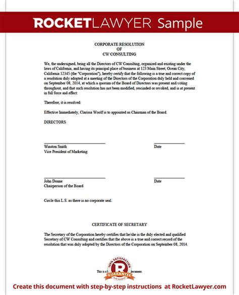 resolution document template corporate resolution