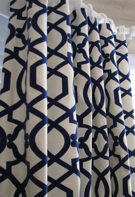 blue and white print curtains pair of decorative designer custom curtains drapes navy on