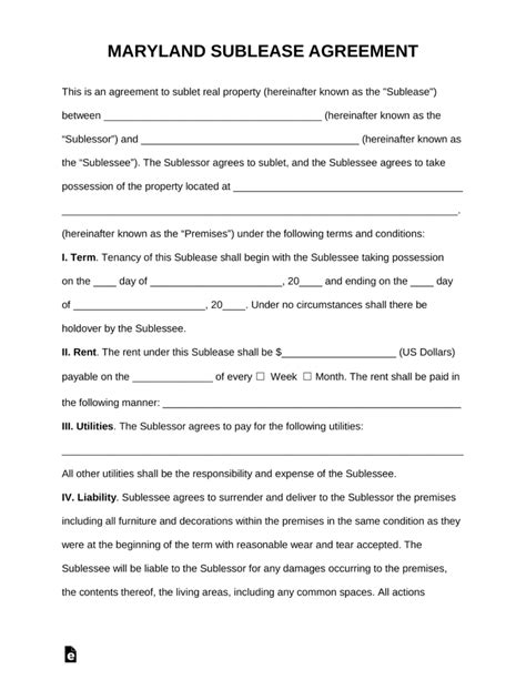 Free Maryland Sublease Agreement Template Pdf Word Eforms Free Fillable Forms Md Lease Agreement Template