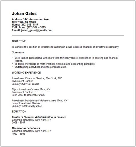 investment banker resume exle free templates collection