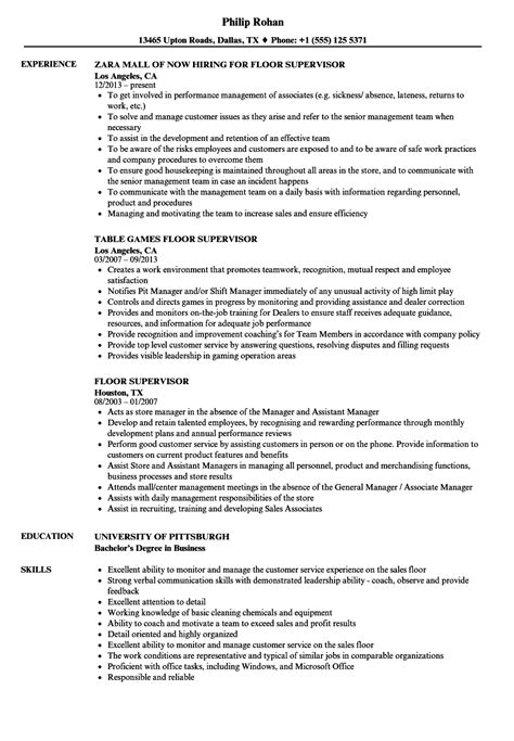 Casino Floor Supervisor Sle Resume by Floor Supervisor Resume Sles Velvet