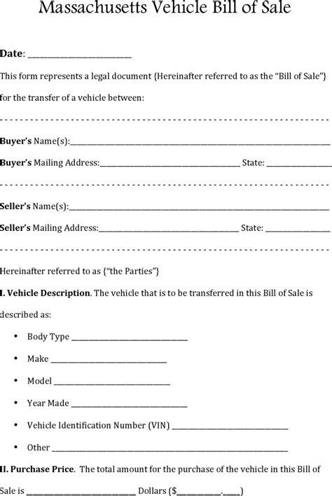 boat bill of sale ma 6 massachusetts bill of sale form free download