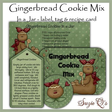 printable cookie jar labels make your own gingerbread cookie mix in a jar label tag