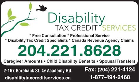 Disability Tax Credit Forms Revenue Canada Primary Caregiver Credit Services Opening Hours 2 167 Borebank St Winnipeg Mb