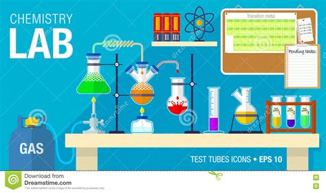 design experiment chemistry spm scene of chemical laboratory with an experiment in process