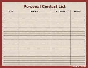 address template for word free contact list template free word s templates
