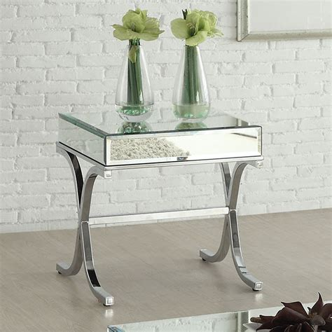 Mirrored Side Table Living Room Yuri Modern Living Room End Side Table Stand Mirrored Top Chrome Metal X Base Ebay