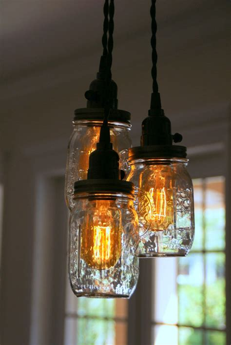 mason jar lights 3 5 light jar chandelier clear pint