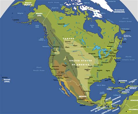 geographical map of america physical america map